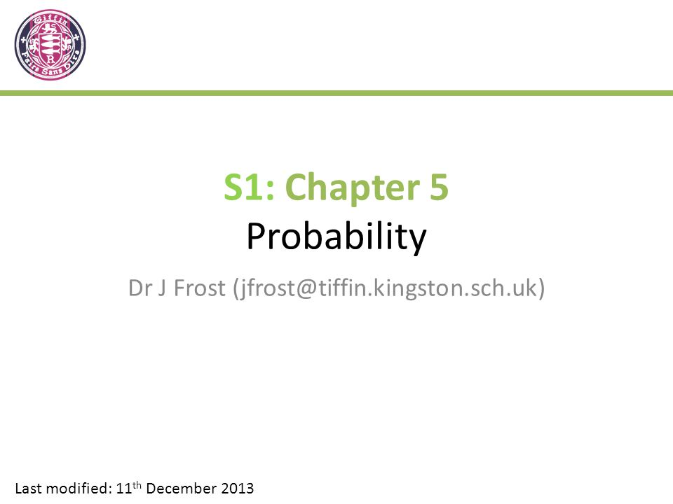 S1 Chapter 5 Probability Ppt Video Online Download