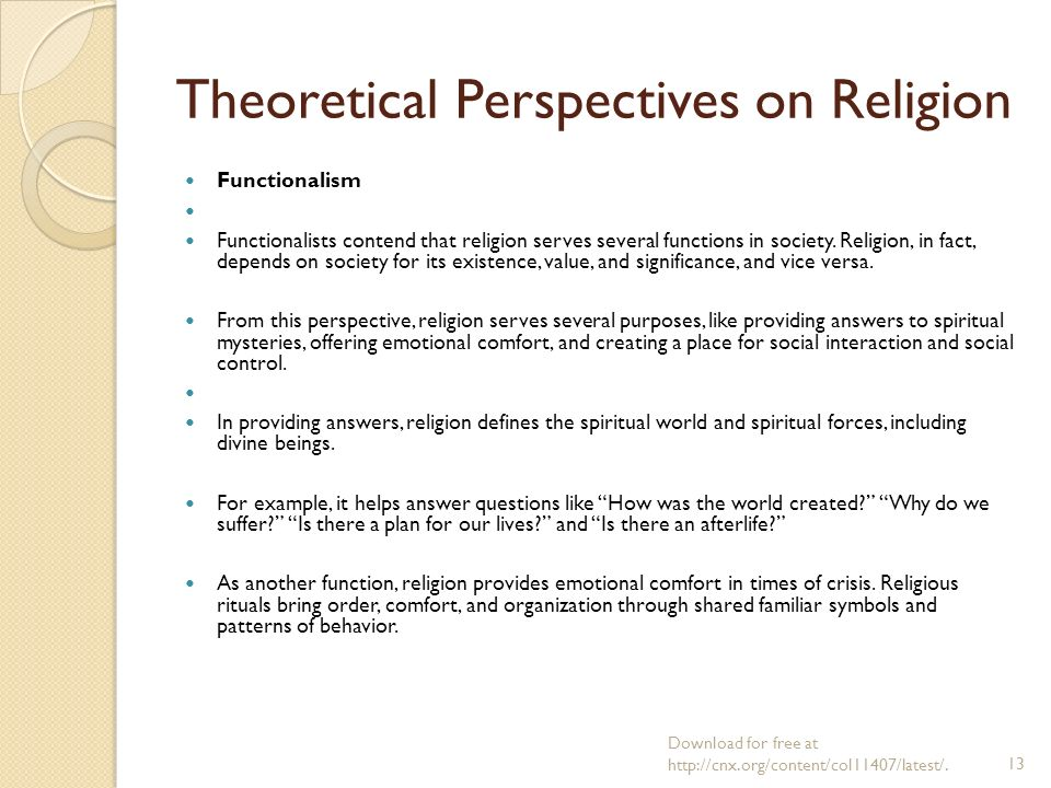 """theoretical perspectives on religion Theoretical perspectives sociology anthropology psychology sociology """"while the individual man is an insoluble puzzle, in."""