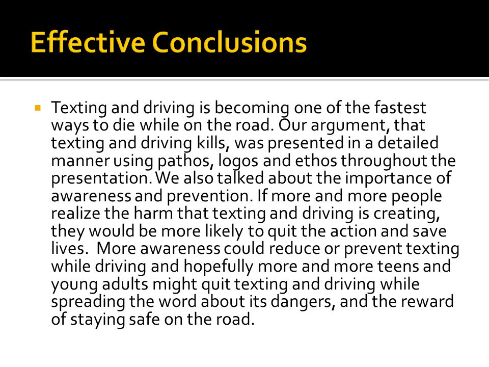 writing the argument analysis essay ppt video online  21 effective conclusions texting and driving
