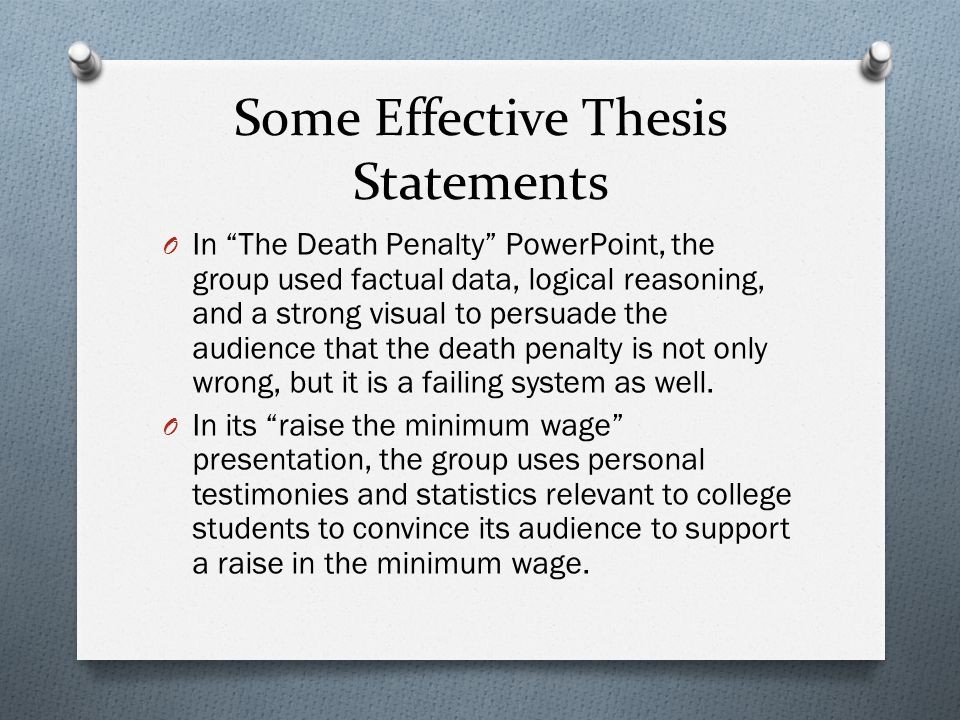 thesis statement for death penalty Reviewing a custom-written essay example below on the topic of death penalty will help you come up with possible arguments for your own paper.