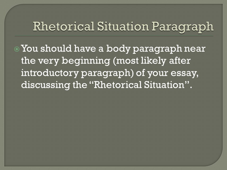 The Rhetorical Situation - Essay Example