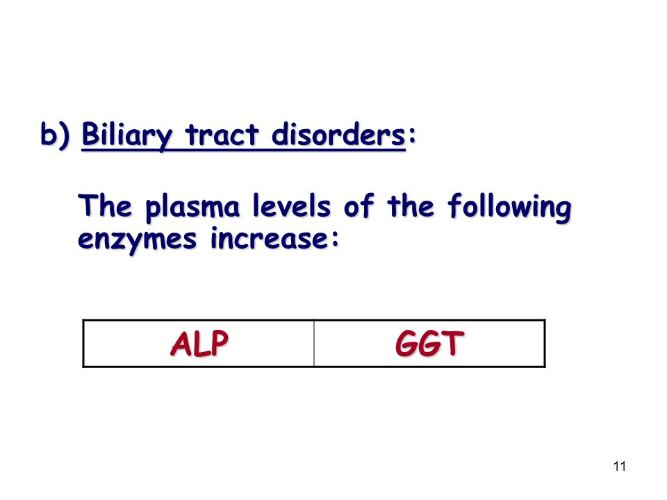ALP GGT b) Biliary tract disorders: