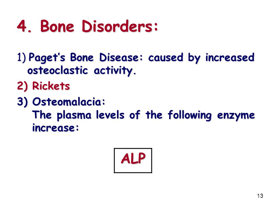 4. Bone Disorders: 1) Paget's Bone Disease: caused by increased osteoclastic activity. 2) Rickets.