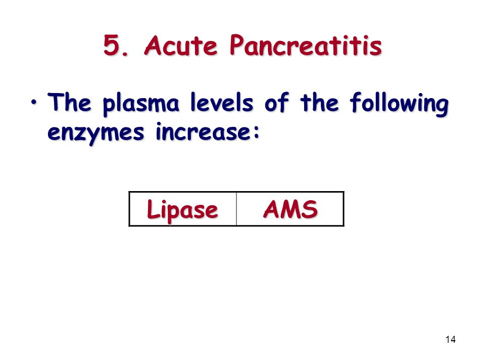 5. Acute Pancreatitis The plasma levels of the following enzymes increase: Lipase AMS