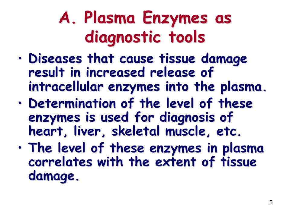A. Plasma Enzymes as diagnostic tools