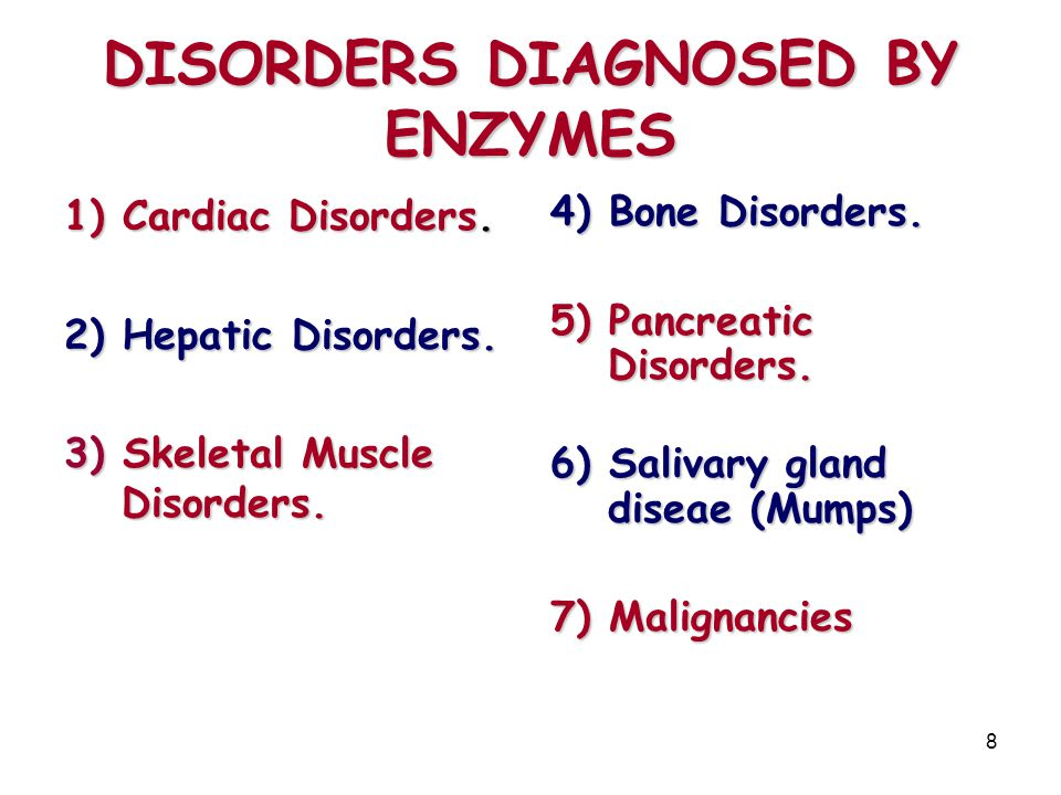 DISORDERS DIAGNOSED BY ENZYMES