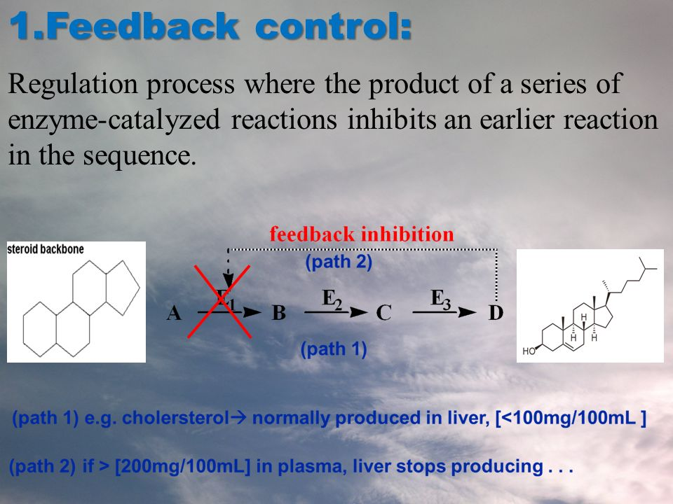 1.Feedback control: Regulation process where the product of a series of enzyme-catalyzed reactions inhibits an earlier reaction in the sequence.