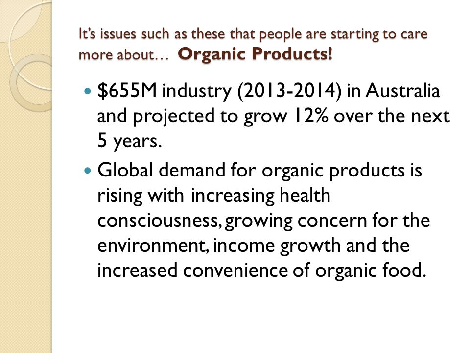 It's issues such as these that people are starting to care more about… Organic Products!