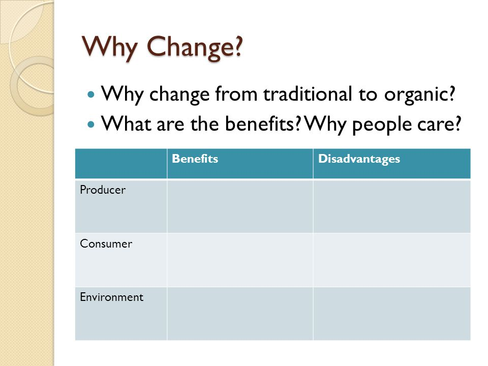 Why Change Why change from traditional to organic