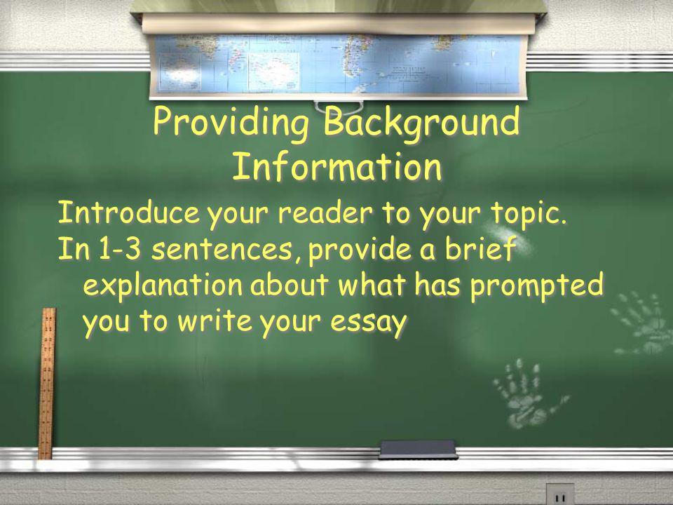 Background information essay