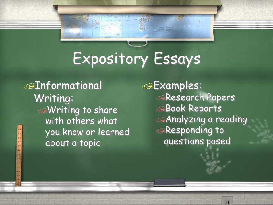 expository research papers Informative essay, sometimes called an expository essay, is to educate others on a certain topic typically, these essays will answer one of the five ws: who, what, where, when, and why.