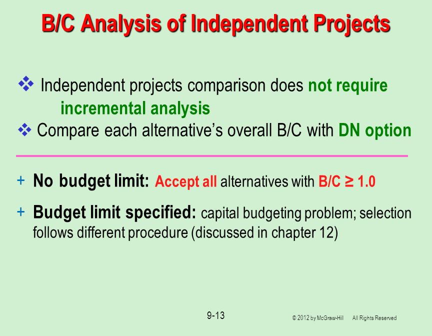 B/C Analysis of Independent Projects