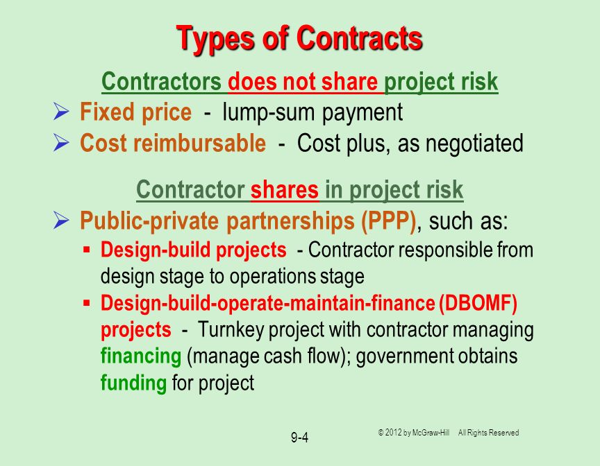 Types of Contracts Contractors does not share project risk