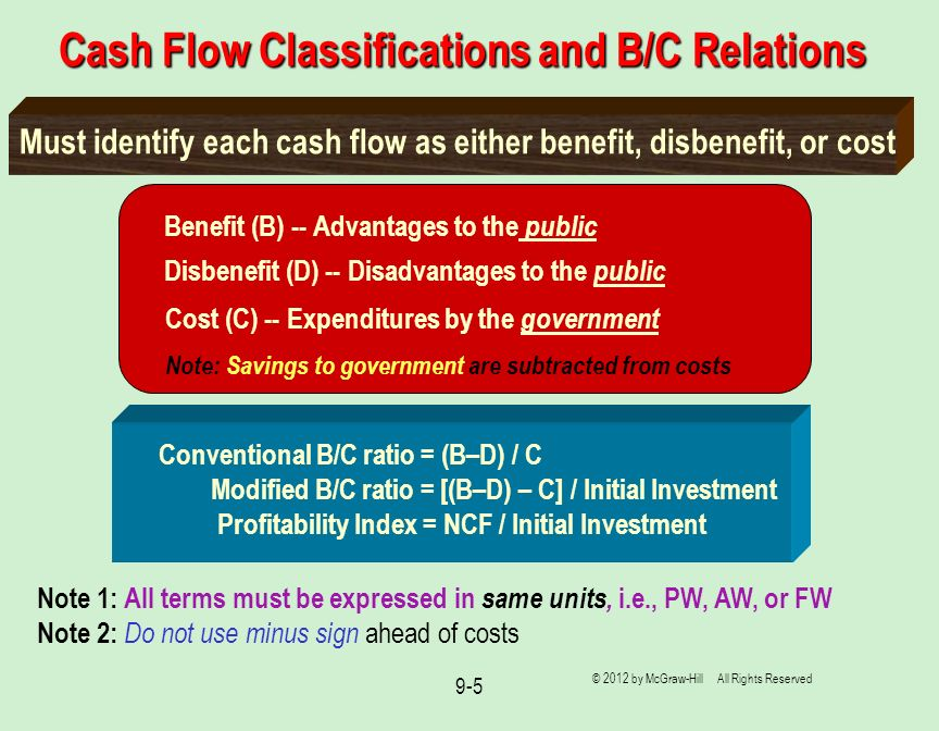 Cash Flow Classifications and B/C Relations