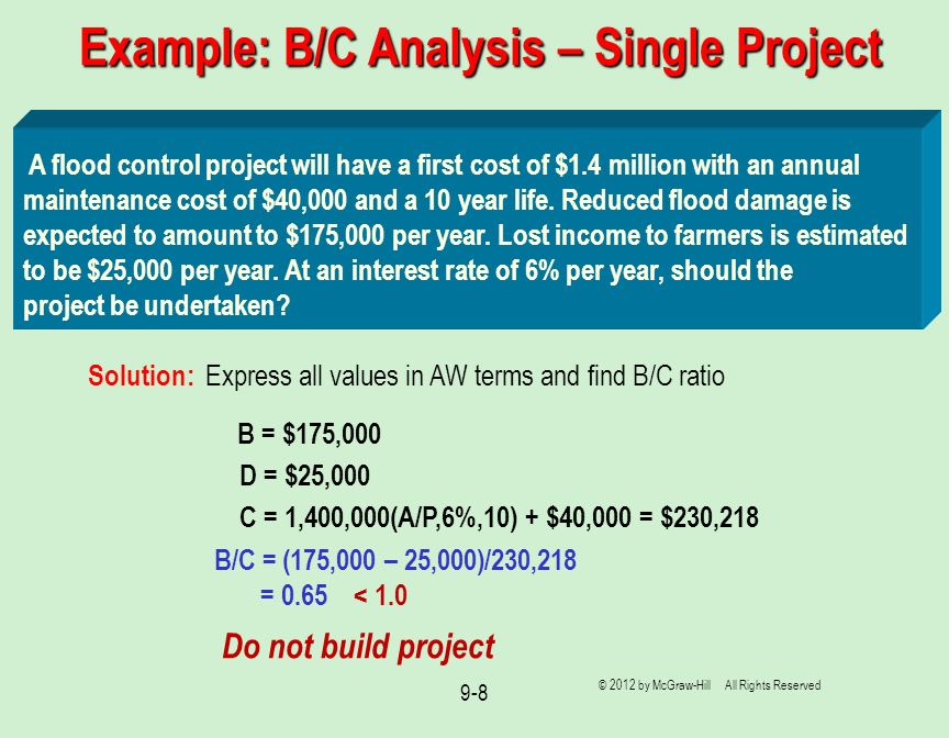 Example: B/C Analysis – Single Project