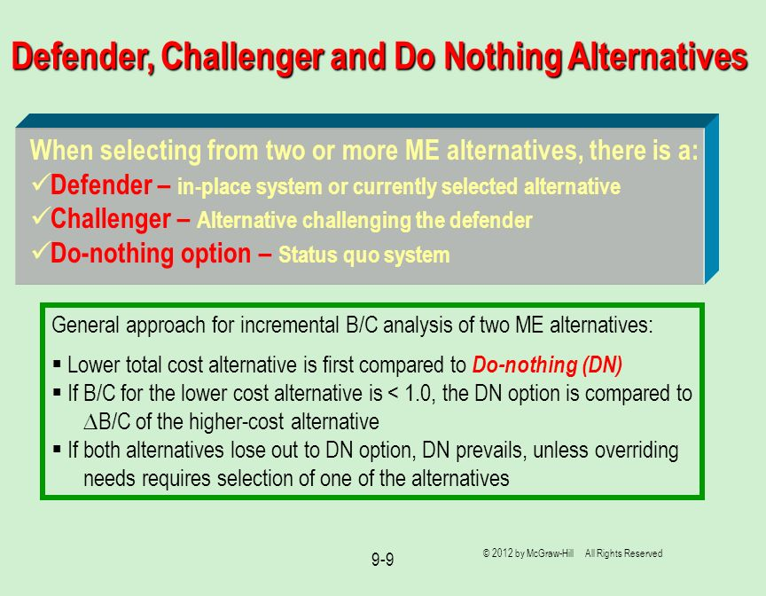 Defender, Challenger and Do Nothing Alternatives