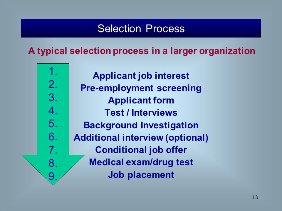 employee selection candidate pre screening and testing By helping companies identify the candidates most likely to perform well on the job, pre-employment testing can lead to additional company benefits, such as saving time and cost in the selection .