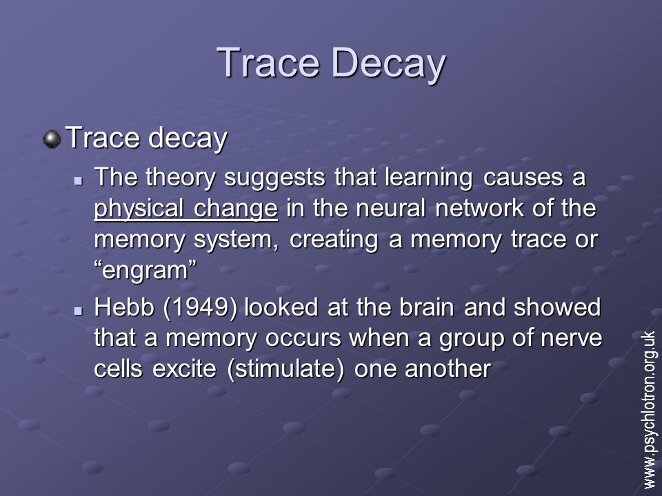trace decay theory
