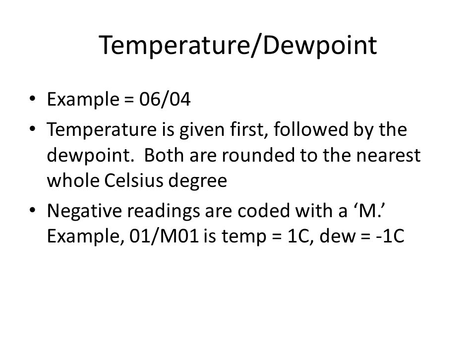 Temperature/Dewpoint