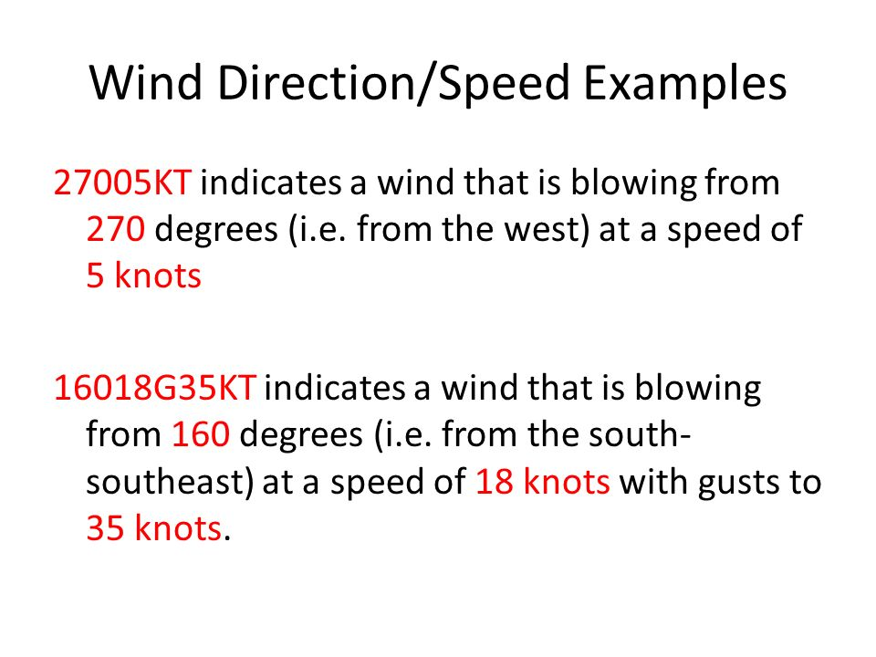 Wind Direction/Speed Examples