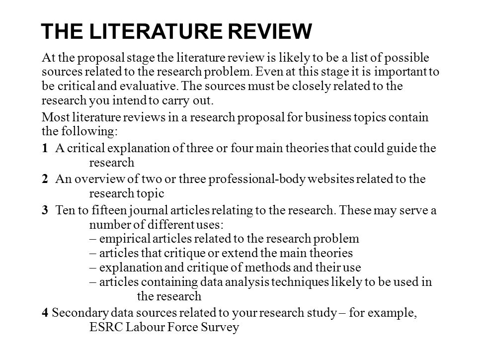 How do i write a literature review for a research proposal