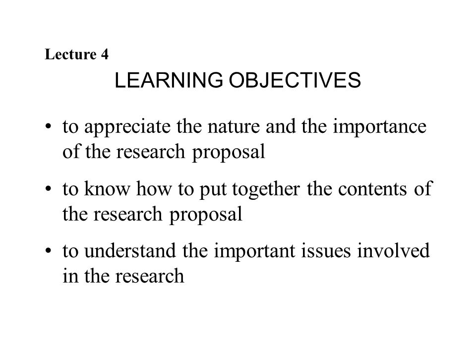 Lecture 4 The Research Proposal Ppt Video Online Download