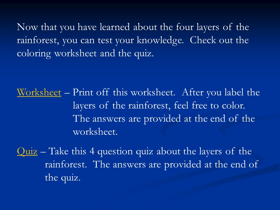 Layers of the Rainforest ppt video online download – Rainforest Layers Worksheet