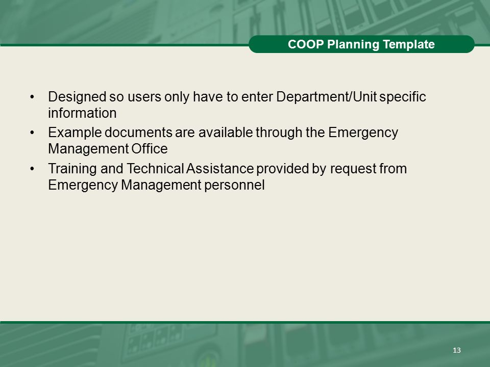 EASTERN MICHIGAN UNIVERSITY Continuity of Operations Planning ...