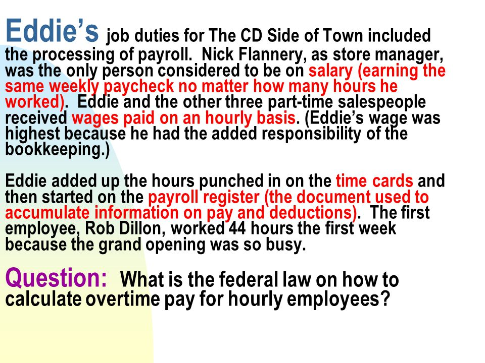 eddies job duties for the cd side of town included the processing of payroll. Resume Example. Resume CV Cover Letter