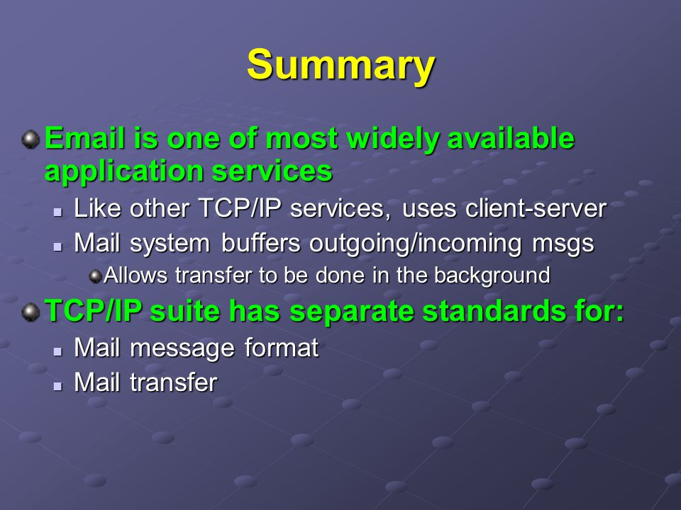 Summary  is one of most widely available application services