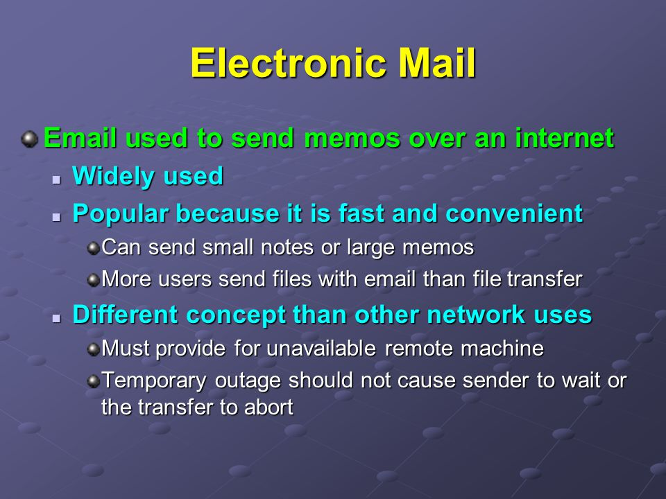 Electronic Mail  used to send memos over an internet Widely used