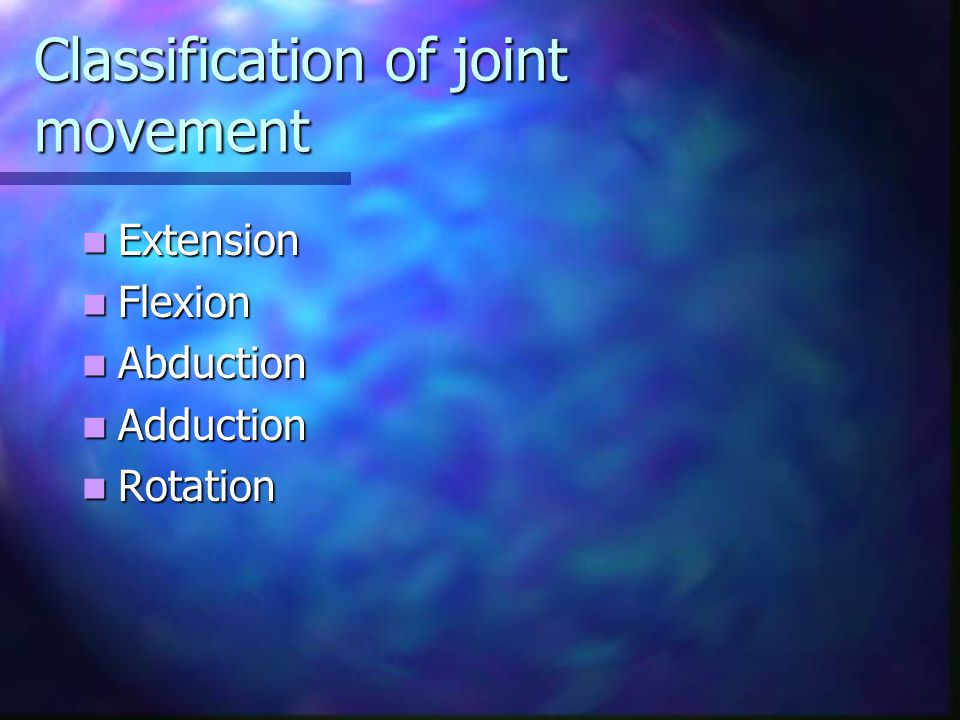 Classification of joint movement