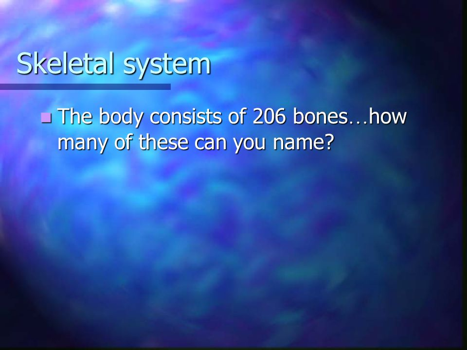 Skeletal system The body consists of 206 bones…how many of these can you name