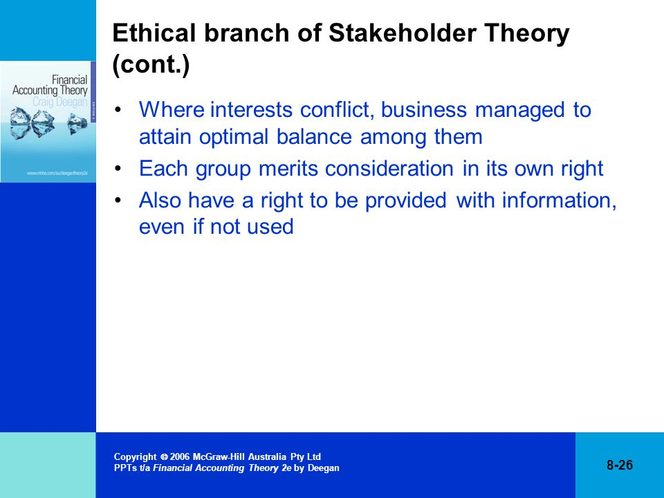 ethical branch stakeholder theory In an effort to establish some ethical guidelines for business, three normative ethical theories have evolved in western capitalist societies they include the stockholder theory, the stakeholder theory and the social-contract theory.
