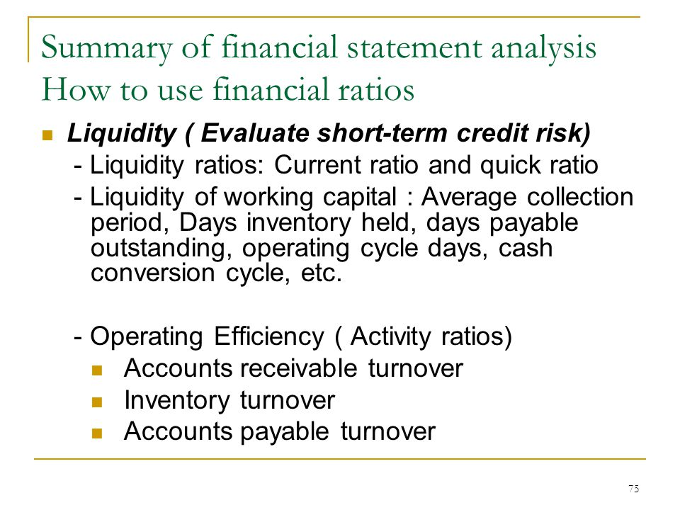financial statement analysis summary Definition of financial statement: summary report that shows how a firm has used the funds  the three basic financial  financial statement analysis.