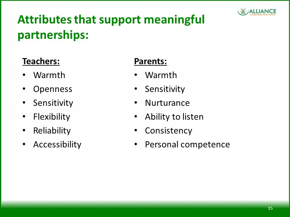 Attributes that support meaningful partnerships: