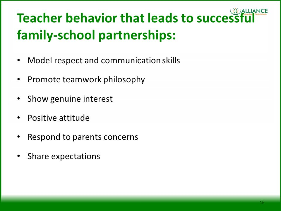Teacher behavior that leads to successful family-school partnerships: