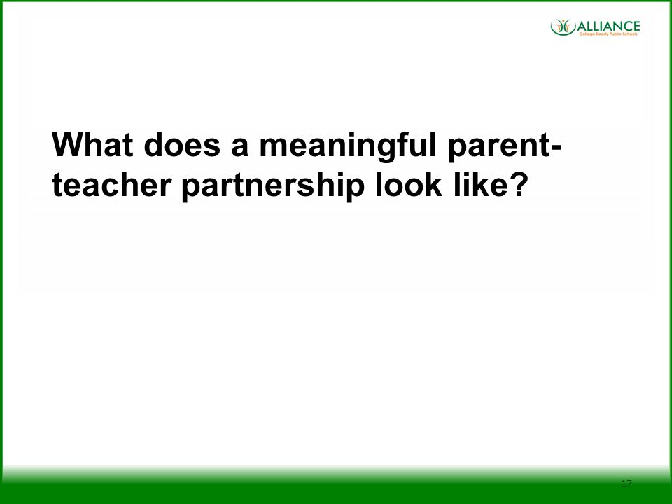 What does a meaningful parent-teacher partnership look like