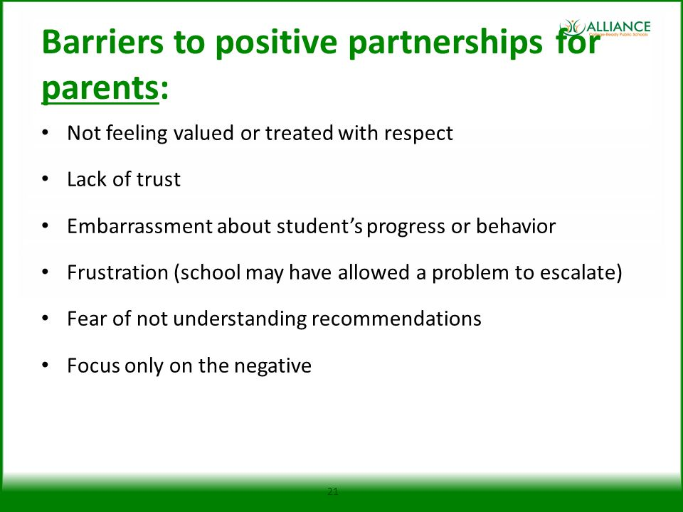 Barriers to positive partnerships for parents: