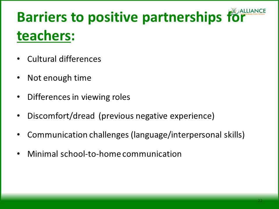 Barriers to positive partnerships for teachers: