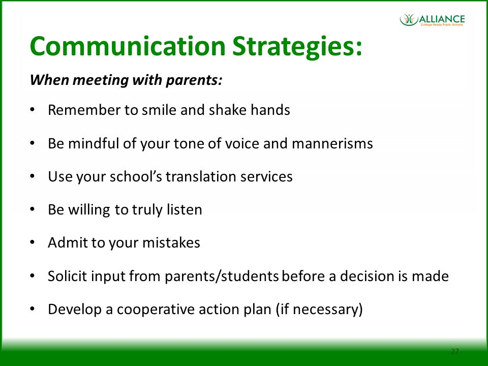 What are the communication strategies skills used in working with parents in partnership