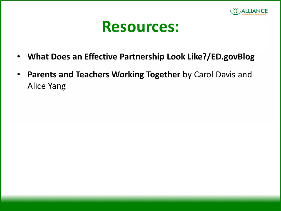 Resources: What Does an Effective Partnership Look Like /ED.govBlog