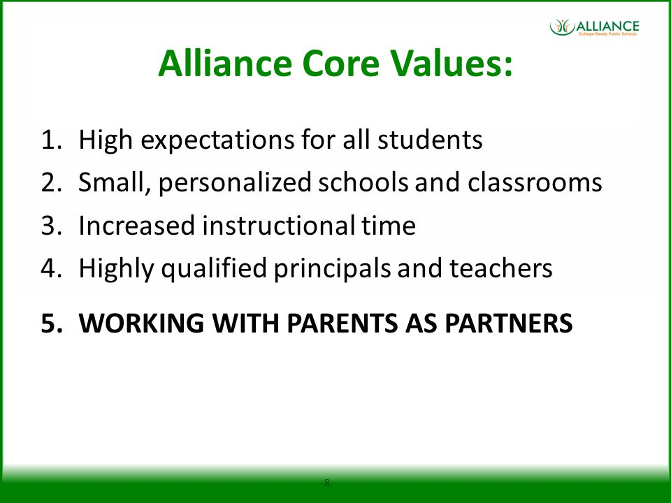 Alliance Core Values: High expectations for all students