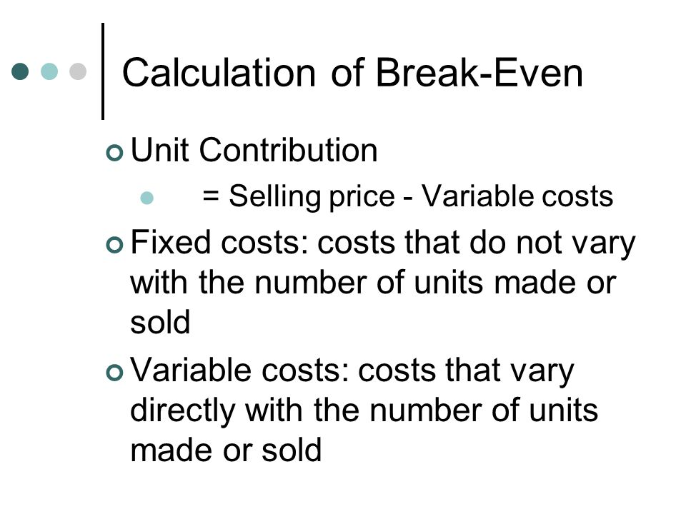 how to calculate total fixed cost with break even volume