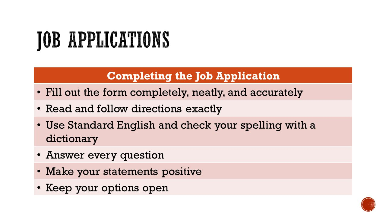 Completing the Job Application