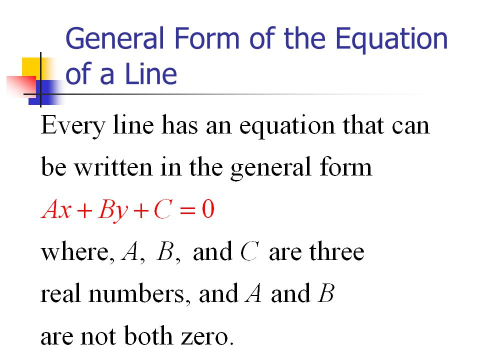 how to find equation of line in general form