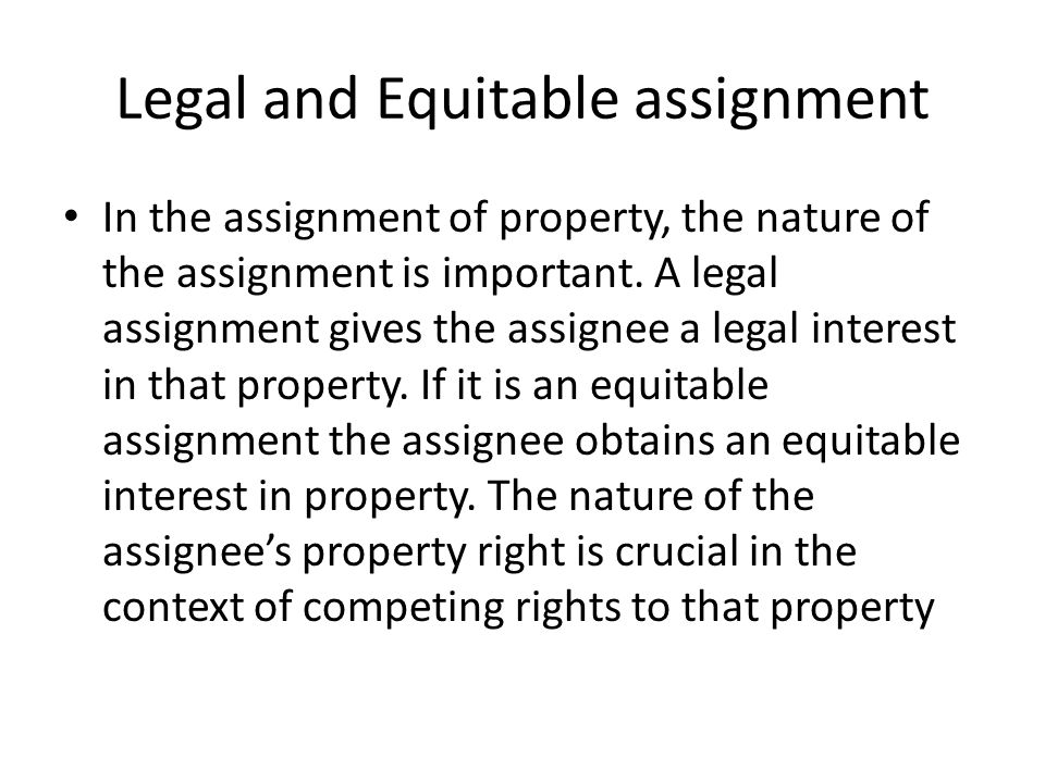 equitable assignment