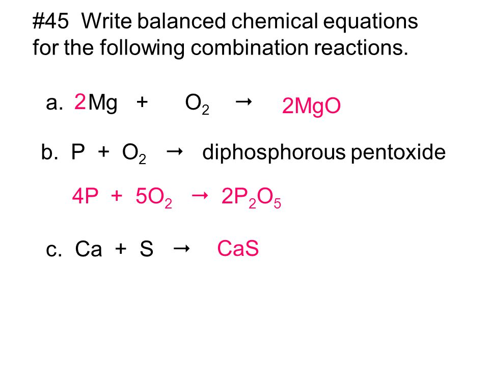 oxygen and following balanced equation essay This figure shows a balanced chemical equation followed below by a  the  reaction between methane and oxygen to yield carbon dioxide and water (shown  at.