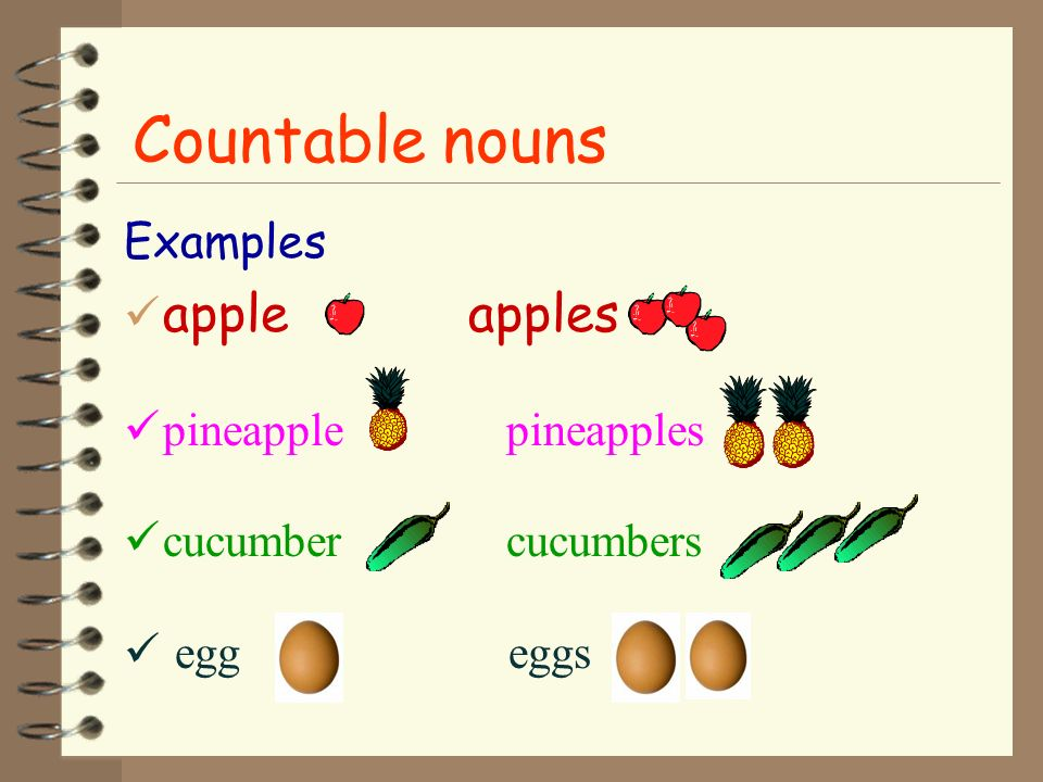 Countable nouns apple apples Examples pineapple pineapples