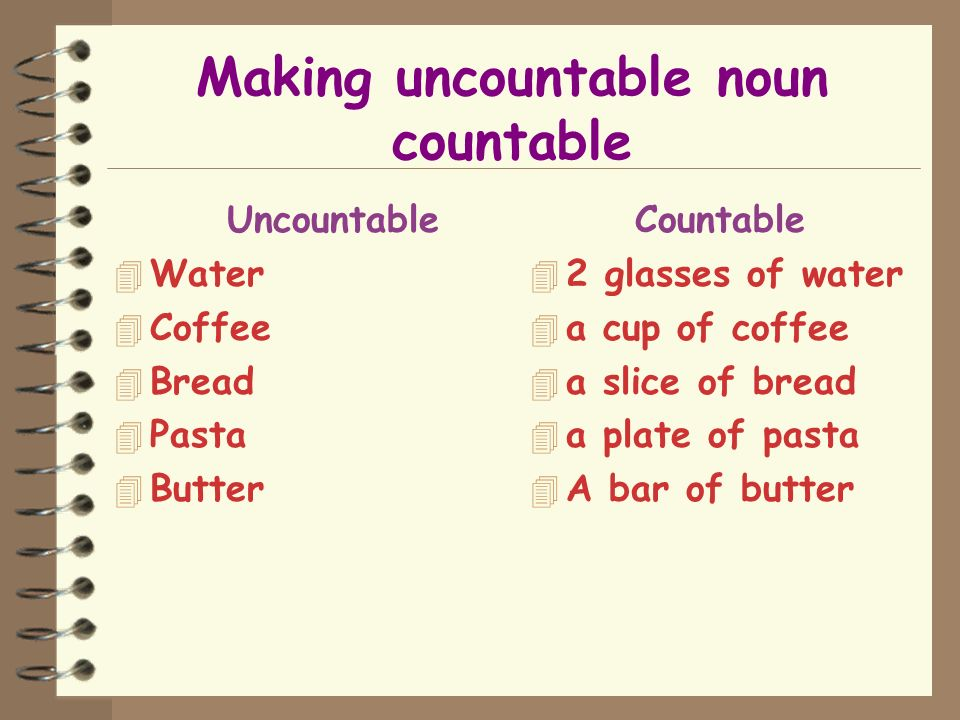 Making uncountable noun countable